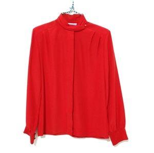 Pendleton Vintage Mock Neck Blouse Red Small